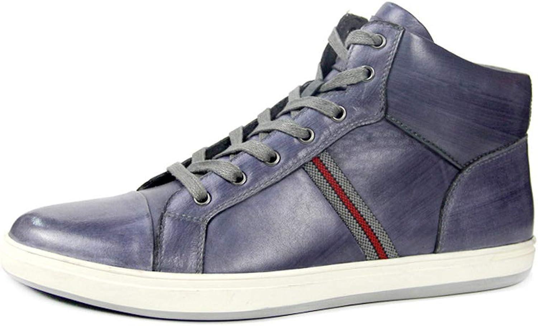 MALPYQ Leder-Retro-Samt-Stiefel mit hohem Saum, Herrenschuhe mit Lederschuhen
