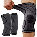 Knee Brace, 1 Pair Knee Compression Sleeve Support Professional Protective Sports Elastic Knee Pads for Basketball Tennis Cycling Volleyball Football, Black XL