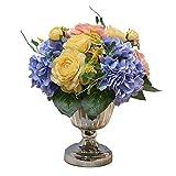 Inicio Accesorios Flor falso Sala Dormitorio Comedor Decoración Flor Artificial Floral Set Decoración de Mesa Flor Falso Flor Clásico Jarrón Decoración Flores Artificiales
