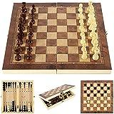 Riyyow 3-en-1 Conjunto de ajedrez de Madera Placa Plegable...