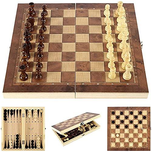 Riyyow 3-en-1 Conjunto de ajedrez de Madera Placa Plegable Tablero de ajedrez cheques de ajedrez Juego Interior Almacenamiento práctico Ambos Lados Rompecabezas Juego de Mesa (Size : 24 * 24cm)