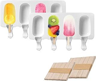 Molde de helado,Helado artesanal,de Grado Alimenticio, sin BPA,2 Piezas 4 Cavidades,verano fabricar popsicle yogur pudín ...
