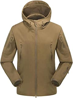 Jackets Outdoor Fleece Soft Shell Jacket, Men's Camouflage Waterproof and Breathable Sports Mountaineering (Color : Brown, Size : M)