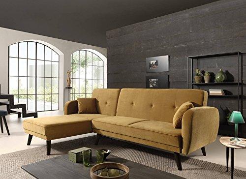 Canapé d'angle 4 places Jaune Velours Pas cher Contemporain
