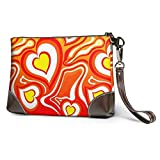 Ahdyr Love Heart Leather Wristlet Clutch Bag Bolsos con cremallera Monederos para mujeres Carteras de teléfono con ranuras para tarjetas con correa