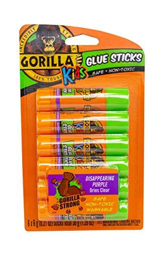 Gorilla Kids Disappearing Purple Glue Sticks, Six 6 gram Sticks, (Pack of 1)