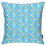 FULIYA Pillowcases,Pastel Colored Nursery Cartoon with Smiling Sun Clouds and Kites Seasonal Activity,Decorative Square Accent Throw Pillow Cushion Cover,18'x 18'