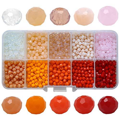 1000pcs 10 caja de color 4MM cuentas planas de jade de porcelana de cristal multifacético, utilizadas para cuentas de joyería de bricolaje y cuentas de rueda utilizadas con joyería (Estilo C)