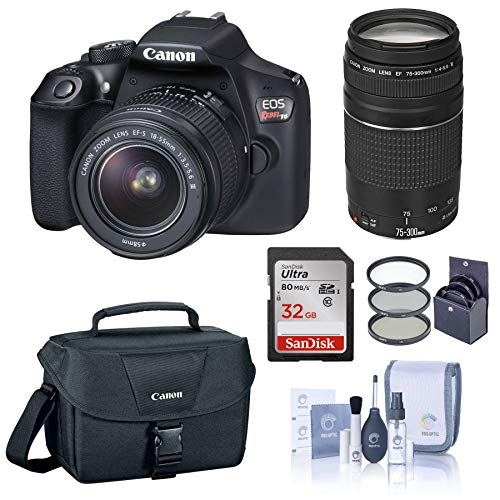 Best Price Canon EOS Rebel T6 DSLR Camera with EF-S 18-55mm and EF 75-300mm Lens Bundle with Bag, Fi...
