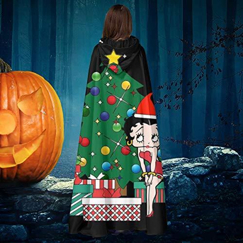 NULLYTG Betty Boop Around The Christmas Tree Unisex Navidad Halloween Bruja Caballo con capucha Vampiros Capa Cosplay Disfraz