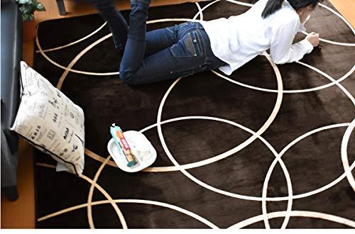 ラグカーペット絨毯ウレタン厚10mmモダンなサークル柄フランネルラグModernCircleベージュ2畳185cm×185cmホットカーペット対応こたつ敷きモダン北欧デザイン185