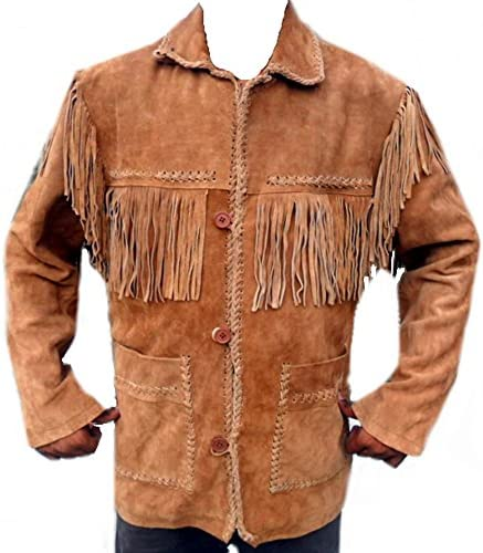 Classyak Western Leather Coat Button Closure Fringes on Front Back Sholders and Sleeves L product image