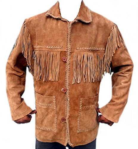 Classyak Western Leather Coat, Button Closure, Fringes on Front, Back, Sholders and Sleeves (XL) Brown
