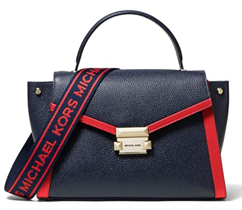 The Whitney satchel is updated for the season in pebbled leather with contrast trim and sporty logo taping on the strap. This structured silhouette features winged side gussets for architectural shape. Crafted with Admiral and Red very Fine Pebbled L...
