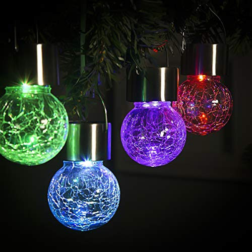 GIGALUMI 8 Pack Hanging Solar Lights,Multi-Color Changing Cracked Glass Hanging Ball Lights Waterproof Outdoor Solar Lanterns for Garden, Yard, Patio, Lawn