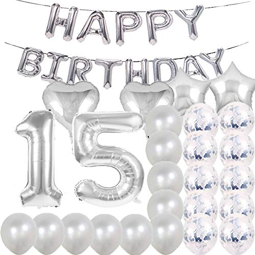 Sweet 15th Birthday Decorations Party Supplies,Silver Number 15 Balloons,15th Foil Mylar Balloons Latex Balloon Decoration,Great 15th Birthday Gifts for Girls,Women,Men,Photo Props