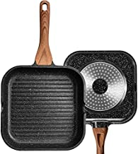 ESLITE LIFE 11 Inch Nonstick Grill Pan for Stove Tops with Pour Spouts Induction Compatible, Granite Coating