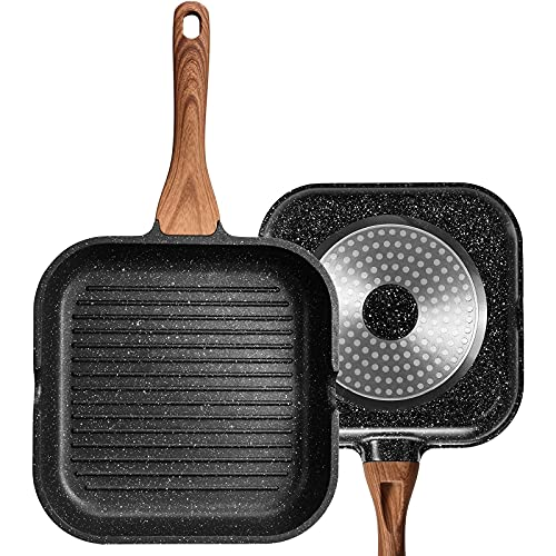 ESLITE LIFE Nonstick Grill Pan for Stove Tops with Pour Spouts Induction Compatible, Granite Coating, 11 inch