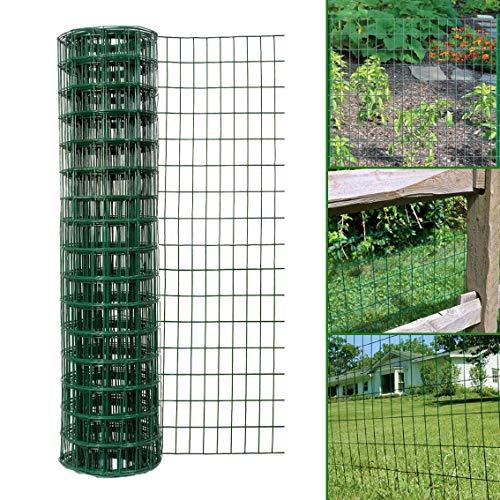 Simpa Multipurpose 1M x 10M - Green PVC Coated Galvanised Steel Wire Garden Fencing Roll – Mesh Hole Spacing 10.16cm x 5.08cm