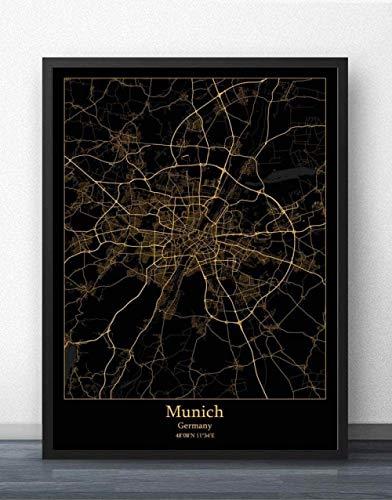 ZWXDMY Impresión De Lienzo,La Ciudad De Munich, Alemania Mapa Imprimir En Blanco Y Negro Lienzo De Texto Simple Cartel Mural De Pintura Sin Cerco Salón Cafetería En La Decoración del Hogar,40×50 Cm.