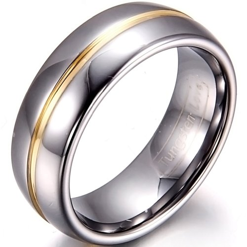 JewelryWe 8mm Two Tone Mens Gold Groove Inset Tungsten Carbide Rings Anniversary/Engagement/Wedding Bands(10) : UK Size - T