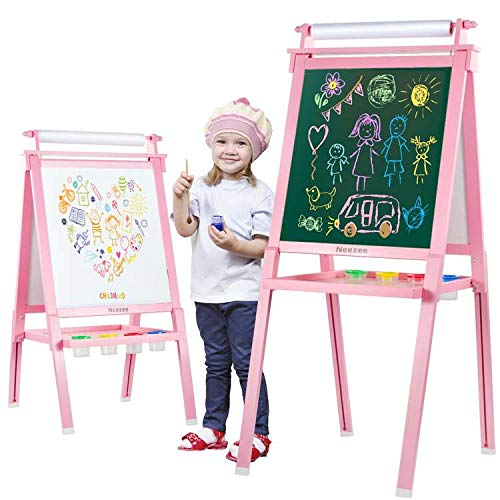 Neezee Kids Easel, Wooden Art Easels for Kids, 3-in-1 Chalkboard/Whiteboard/Paper Roll Easel with Art Accessories for Kids, Toddlers, Boys and Girls, Ages 2-15 (Pink)