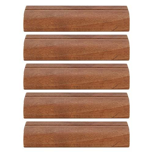 5 st visitkortshållare i trä foto visningsstativ anteckning klämma kontor inloggning tillbehör trä signatur klämma mörk färg