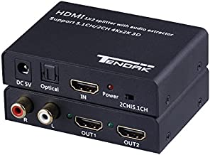 Tendak 1X2 4K HDMI Splitter with HDMI Audio Extractor + Optical and R/L Audio Output Powered Splitter 1 in 2 Out Signal Distributor Support 3D for PS4 Xbox One DVD Blu-ray Player HD TV Projector