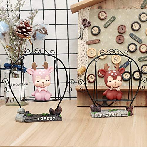 Gyjcd Twee Japanse Kruidenier Ornamenten Leren Bureaulamp Hart Bloem Herten Schommel Cartoon Bureau Decoratie Student Cadeau