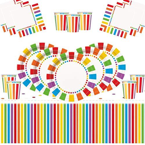 Regenbogen Party Kinder Geburtstag Dekoration-Regenbogen Teller Tassen Servietten Tischdecken Kostenlose Luftballons und Verschiedene Farbstifte-16 Gäste