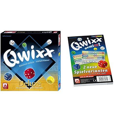 NSV - 4024 - QWIXX DELUXE - Würfelspiel & 4033 - QWIXX GEMIXXT - Zusatzblöcke 2-er Set - Würfelspiel