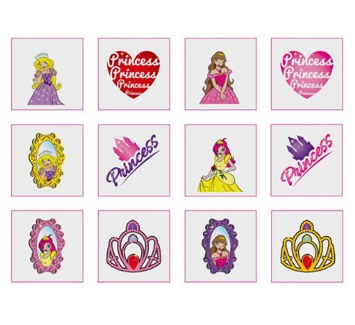 Princess tattoos, pack of 24