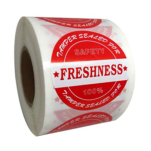 Food Delivery Tamper Evident Stickers, Sealed for Freshness Labels, 2 Inch Red Round Adhesive Stickers for Safe Food delivery (500 pcs)