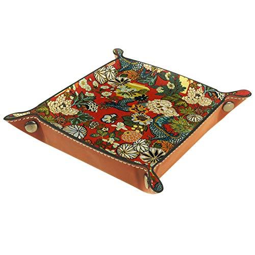 Caja de almacenamiento pequeña, bandeja de valet para hombre,Patrón de Dragón de Peonía ,Organizador de cuero para llaves de caja de monedas