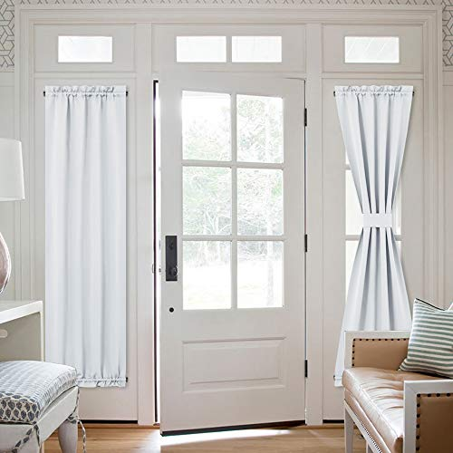 NICETOWN Room Darkening French Door Curtains  Room Darkening Patio Door Thermal Curtain Panels Sidelights Door Panels 25 inches W x 72 inches L  Greyish White Tie Back Included 2 Panels