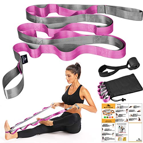 Yoga Strap, Stretch Strap with 12 Loops, Nonelastic Stretch Bands for Exercise, Physical Therapy, Pilates, Dance and Gymnastics, Extra Thick, Durable, Comes with Travel Bag and Door Anchor-Pink
