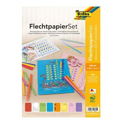 Unbekannt Folia Flechtpapier Set, Din A4, 24 Bögen, 120 g/m² - Flechtbögen Flechtstreifen Papierstreifen