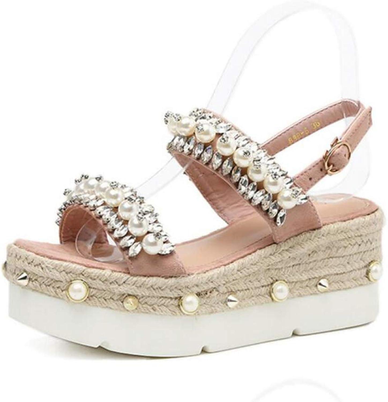 Hoxekle Woman's Bling Rhinestone Beads Wedge Straw Platform High Heel Sandals Summer Gladiator Sandales