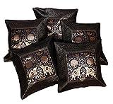 Fundas para cojín o almohada tela de brocado de seda india de trabajo étnico y bordado de elefantes, 43,18cm x 43,18cm, 5 unidades, seda sintética, negro, 51 x 51 cm
