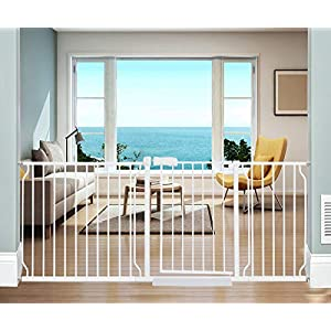 ALLAIBB Extra Wide Pressure Mounted Baby Gate Walk Through Child Kids Safety Toddler Tension White Long Large Pet Dog Gates with Extension for doorways Kitchen and Living Room (71.65-76.38″/182-194cm)