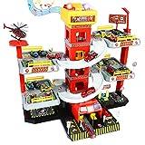 Fajiabao Garage Voiture Enfants Caserne de Pompiers Parking avec 4 Camion Pompier Jouet 8 Petite Voiture Jouet 1 Hélicoptère Jeu de Construction Noël Cadeau pour Enfant Fille Garçon 3 4 5 6 Ans