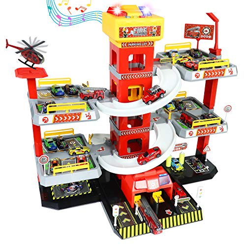 Fajiabao Caserma dei Pompieri Garage Macchine Giocattolo per Bambini con 4 Camion Pompieri Giocattolo 8 Piccoli Giocattoli Auto 1 Elicottero Natale Regalo per Ragazzi Ragazze 3 4 5 6 Anni