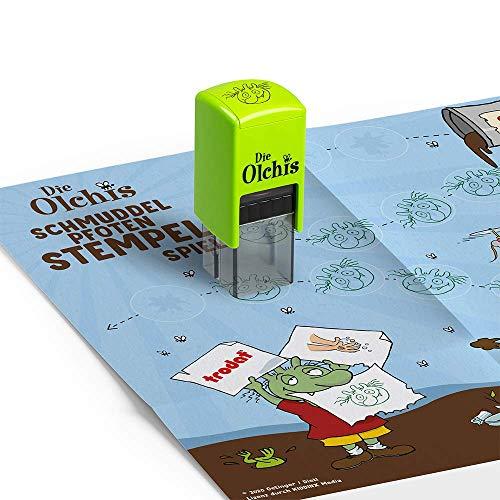 Trodat Die Olchis Schmuddelpfoten Stempel mit Spiel für Kinder – Junge, Abdruck Grün, 171463