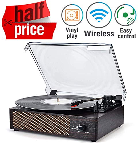 Plattenspieler Turntable Vinyl Plattenspieler Bluetooth Schallplattenspieler mit Lautsprecher Drahtloser tragbarer tragbaren 3-Gang 33/45/78 U/min und Eingebauter 2 Stereo Lautsprechern Aux in RCA