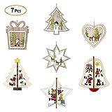 7 pièces Decorations pour Noël en bois Arbres Pendentifs en bois Noël 3D Etiquettes Cadeaux Etiquettes en bois Décorations de...