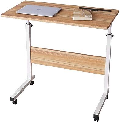 ZLCTG Computer Student Laptop Desk Height Adjustable Wooden Laptop Table Computer Standing Desk with Tablet Slot Mobile Workstation with Wheels (Black) (Color : A)