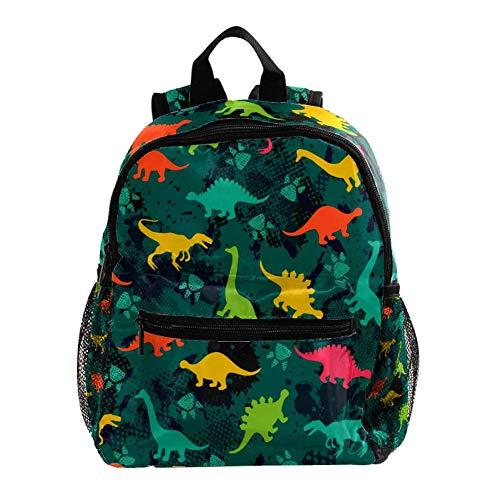 Dibujos Animados de Dinosaurios de Color Mochila 3-8 Años Mochila Ligera para Niños Pequeños para Preescolar Guardería Y Bolsa De Pañales para Bebés De Viaje 25.4x10x30CM