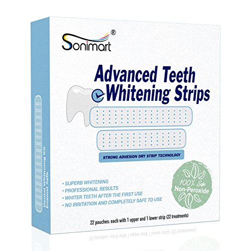 Sonimart Advanced Teeth Whitening Strips Kit, 20 Treatments + 2 Extra Treatments, 44 Strips with Strong Adhesion Dry Strip Technology (Non-Peroxide Formula for Normal & Sensitive Teeth)