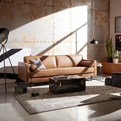 "Amazon Brand – Rivet Aiden Tufted Mid-Century Modern Leather Bench Seat Sofa, 86.6"" W, Cognac"