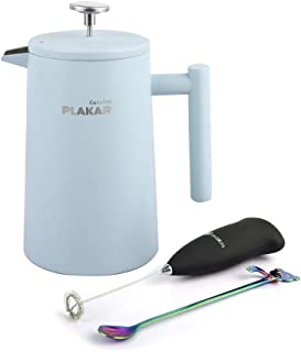 French Press Coffee Maker (34 oz.) Elegant, Vintage Design | Double-Wall, Vacuum Insulated | Smooth-Pouring Spout | Enjoy Single Cup or Full Pot | Candy Blue - By PLAKAR
